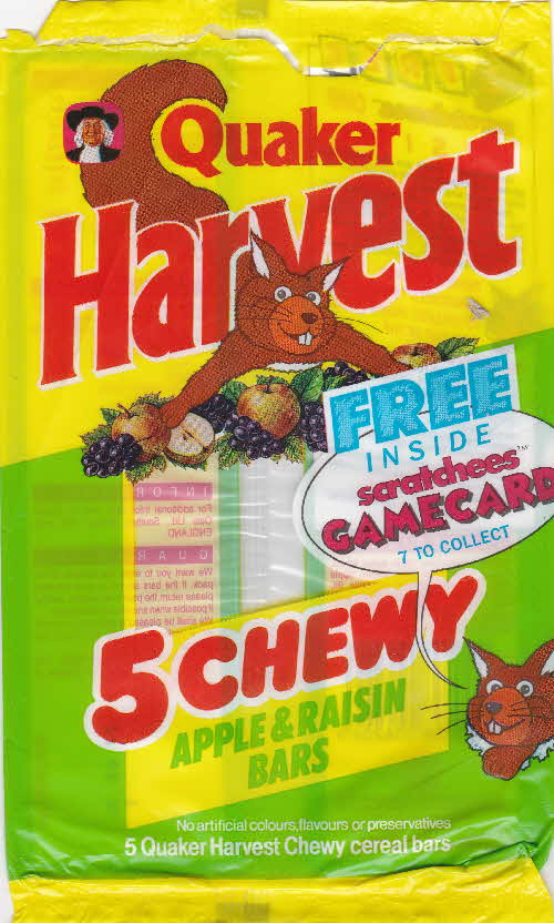 1991 Quaker Harvest Scratchees Game pkt