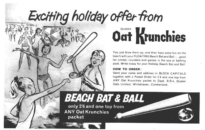 Quaker Oats Krunchies Beach Bat & Ball 1960s