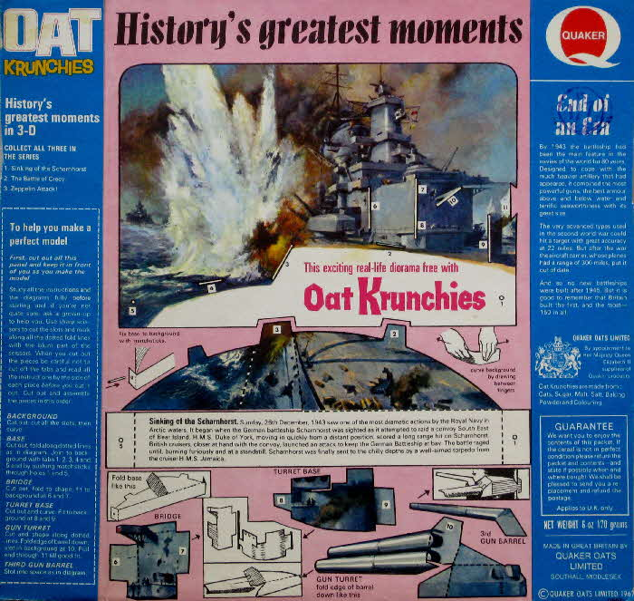 1967 Oat Krunchies History's Greatest Moments 2 - Sinking of the Scharnhorst
