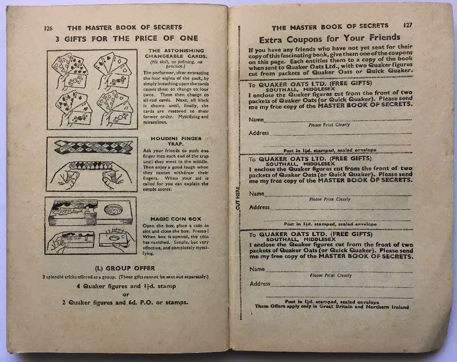 1935 Quaker Oats Master Magic Send away items offer details