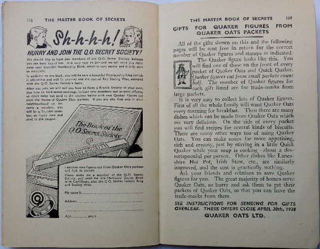 1937 Quaker Oats Master Book of Secrets offers (1)