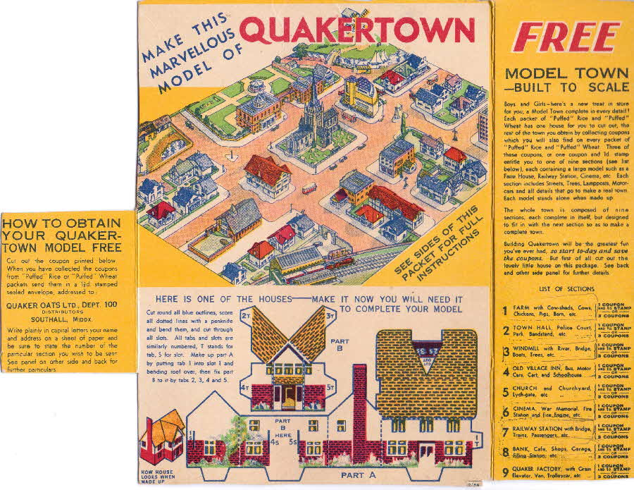 1936 Quaker Puffed Wheat Quakertown - packet back