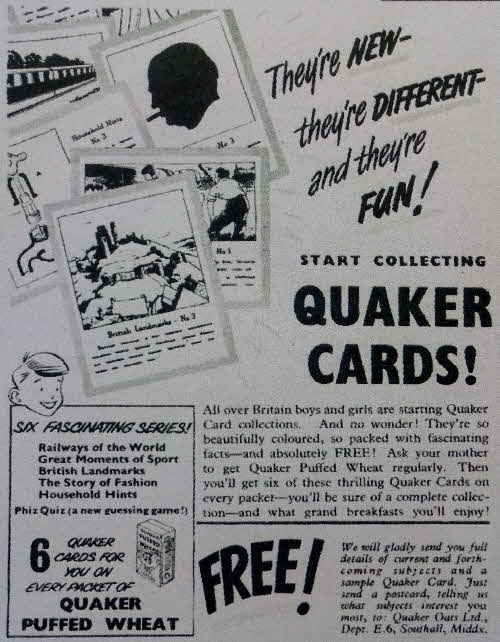 1952 Quaker Oats Puffed Wheat Reference cards (1)
