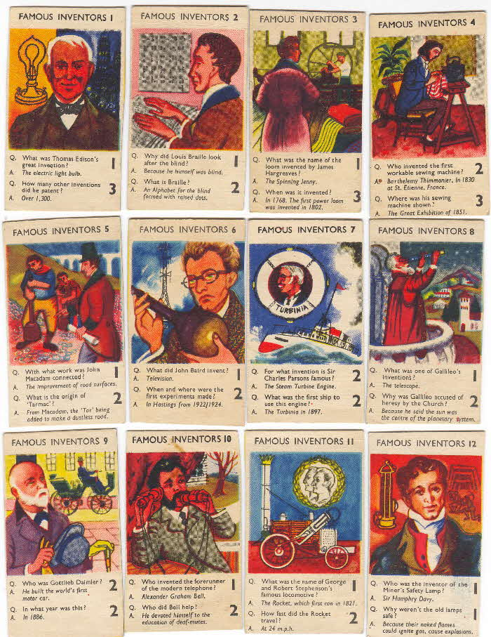 1956 Puffed Wheat Quiz Cards Famous Inventors