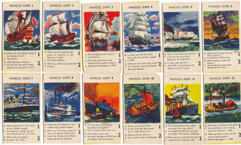 1956 Puffed Wheat Quiz Cards Famous Ships1