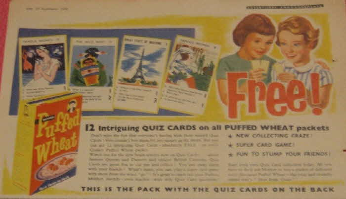 1956 Quaker Oats Quiz Cards - Famous Women, The Wild West and Great Fetas of Building (betr)