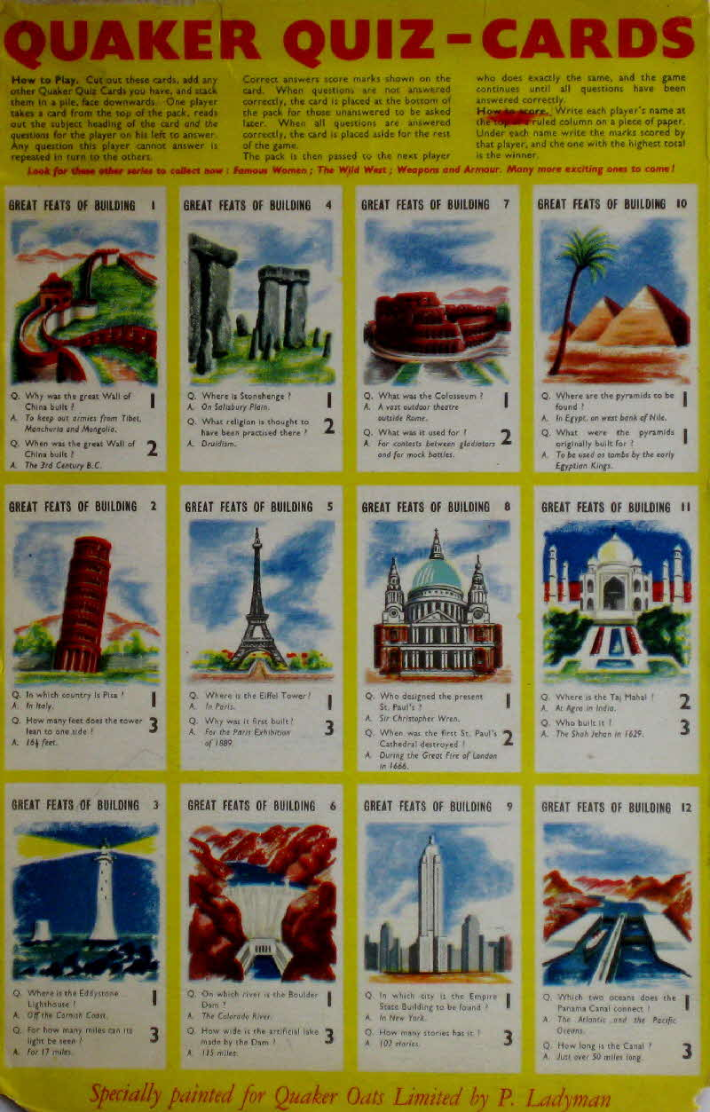 1956 Quaker Puffed Wheat Greats Feats of Buildings Quiz Cards