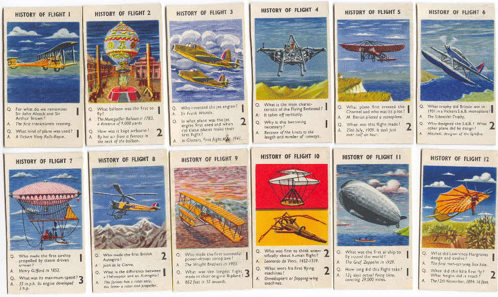 1956 Puffed Wheat Quiz Cards History of Flight