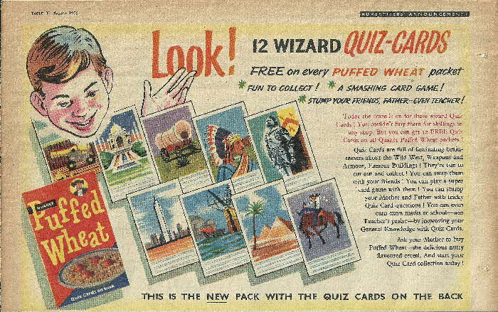 1956 Quaker Oats Puffed Wheat Quiz Cards (2)