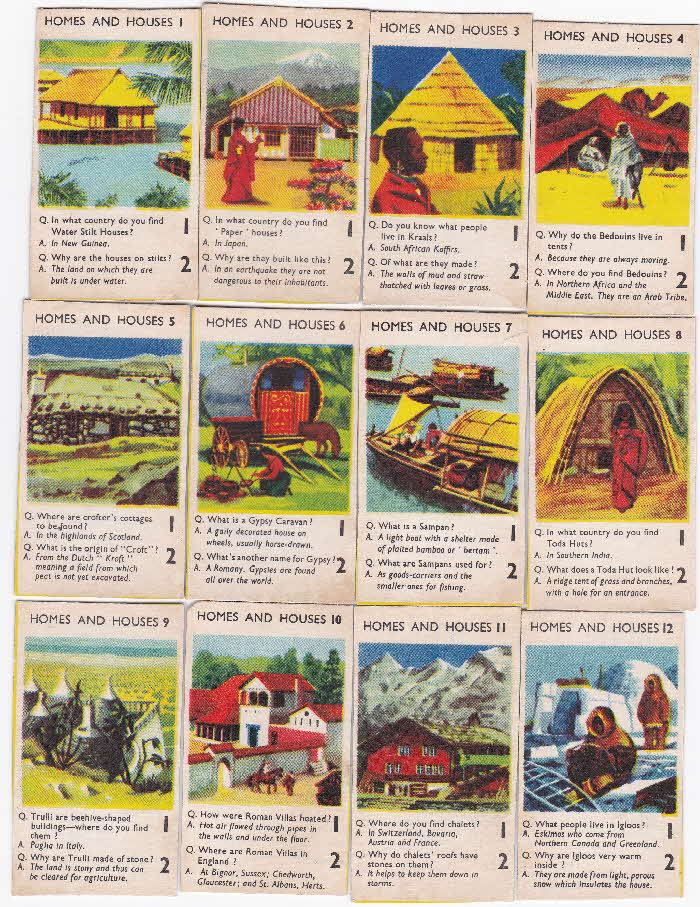1956 Puffed Wheat Quiz Cards Homes & Houses