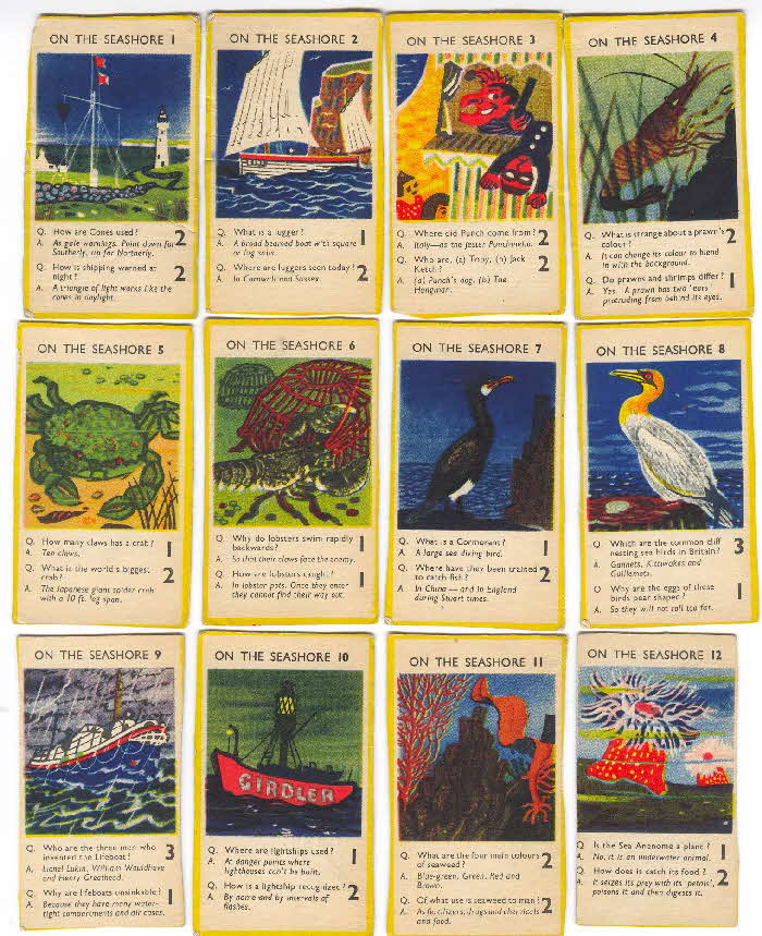 1956 Puffed Wheat Quiz Cards On the Seashore