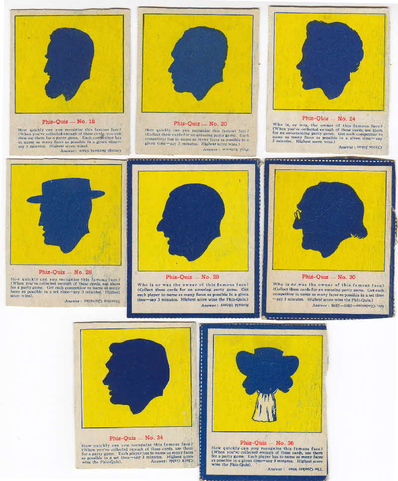 1952 Quaker Oats Puffed Wheat  Phiz Quiz cards 2