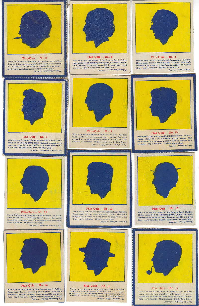 1952 Quaker Oats Puffed Wheat  Phiz Quiz cards