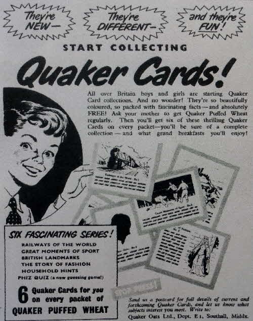 1952 Quaker Oats Puffed Wheat Reference cards (2)