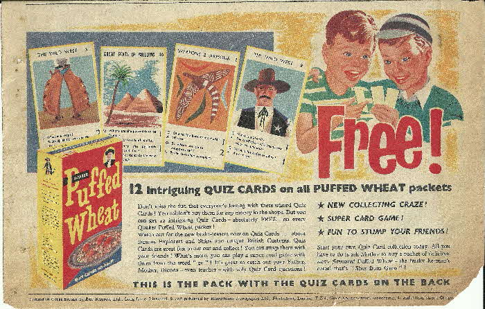 1956 Quaker Oats Puffed Wheat Quiz Cards (1)