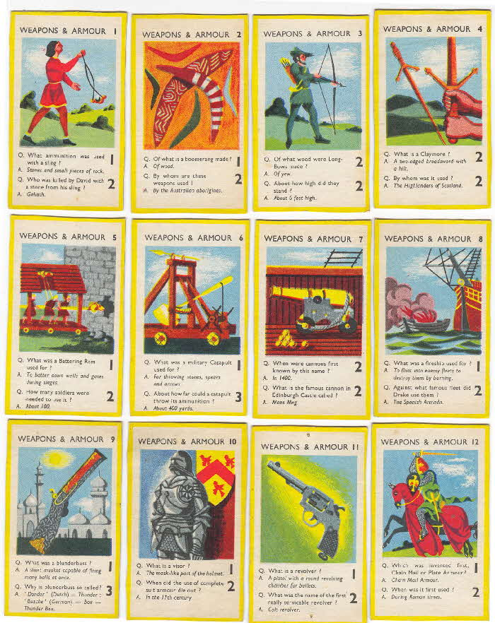 1956 Puffed Wheat Quiz Cards Weapons & Armour