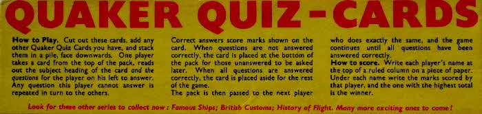 1956 Quaker Puffed Wheat  Quiz Cards Instructions