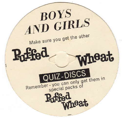 1960s Quaker Puffed Wheat Quiz Disk back