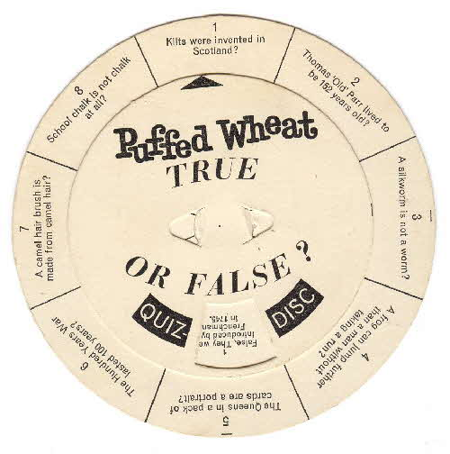 1960s Quaker Puffed Wheat Quiz Disk front 1960s