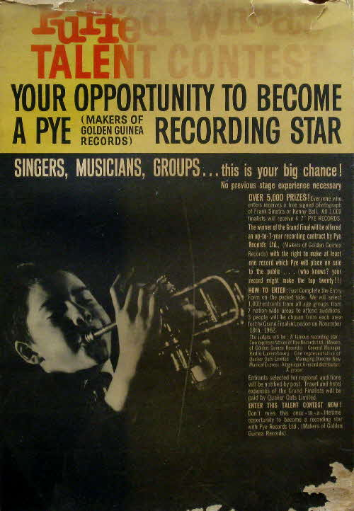 1962 Quaker Puffed Wheat Pye Recording Star (betr)
