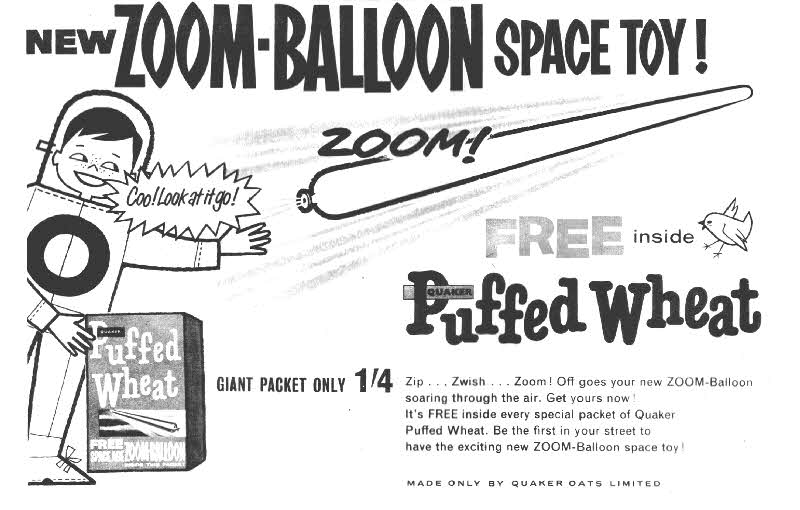1960 Quaker Oats Puffed Wheat Zoom Balloon