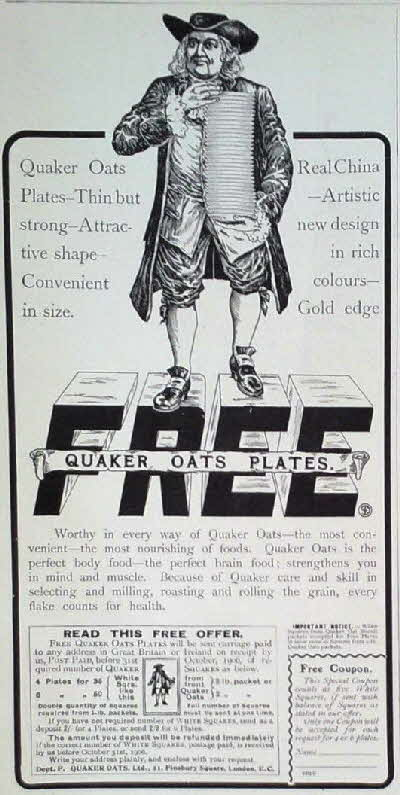 1905 Quaker Oats Plates Advert1