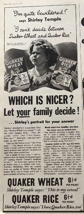 1939 Quaker Oats Shirley Temple Photo (1)