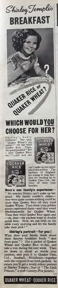 1939 Quaker Oats Shirley Temple Photo (2)