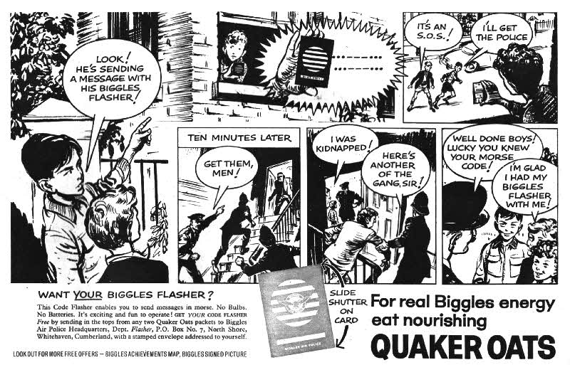 1960 Quaker Oats Biggles Flasher