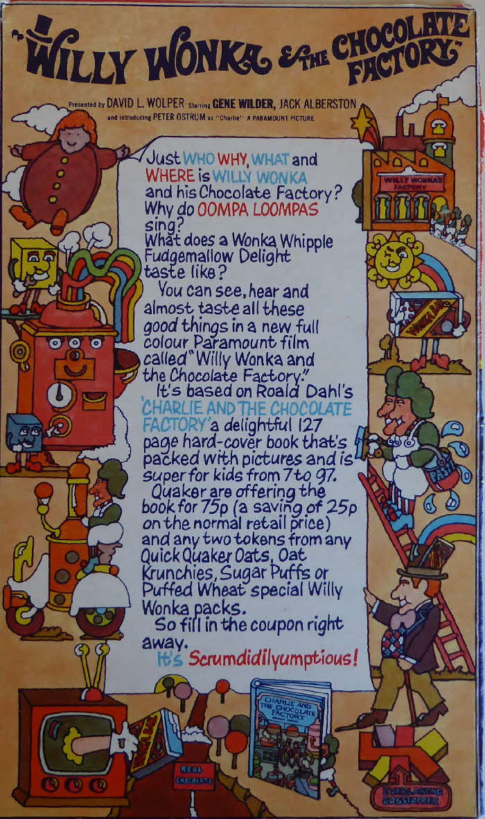 1971 Quaker Oats Willy Wonka & the Chocolate Factory Book Offer