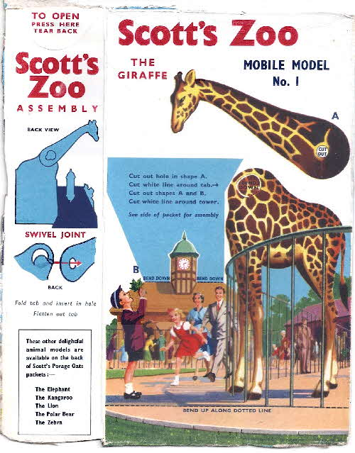 1958 Scott's Oats Zoo Animals Giraffe