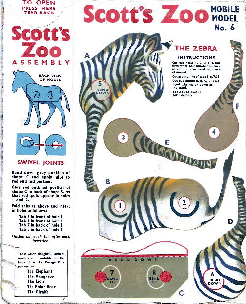 1958 Scott's Oats Zoo Animals Zebra