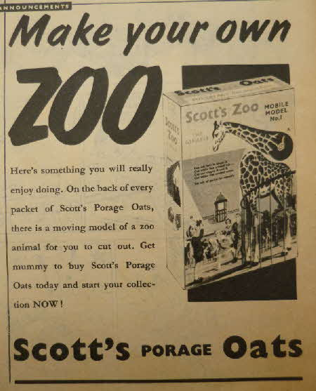 1958 Scotts Oats Zoo animals (1)