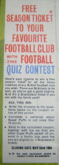 1963 Sugar Puffs Blow Football Competition