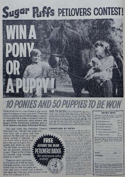 1964 Sugar Puffs Petlovers Contest & badge ad