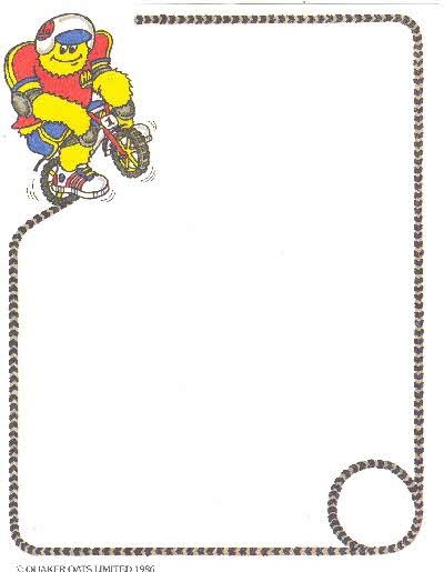 1986 Sugar Puffs Stationary paper
