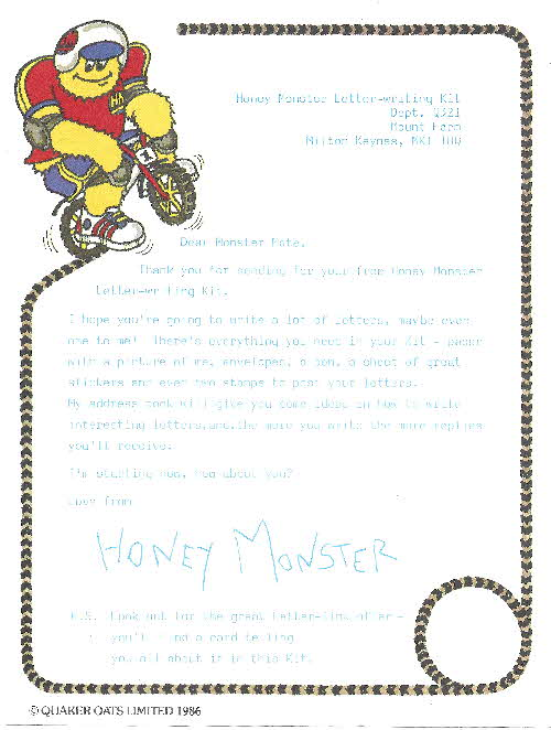 1987 Sugar Puffs Honey Monster Letter Writing Kits (1)