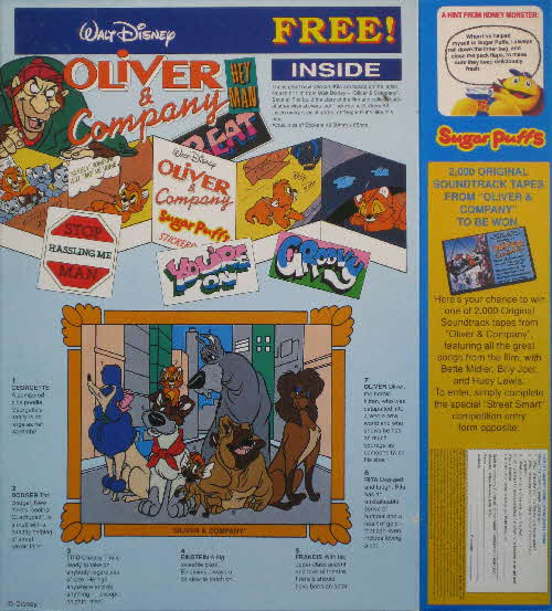 1989 Sugar Puffs Oliver & Co stickers & Competition