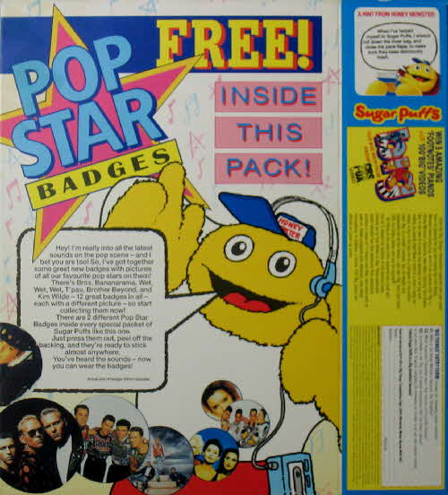1989 Sugar Puffs Pop Star Badges