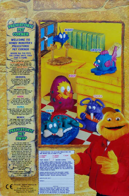 1997 Prehistoric Pets Free in packets of Sugar Puffs cereal