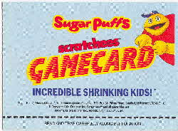 1991 Sugar Puffs Scratchees Game cards 1