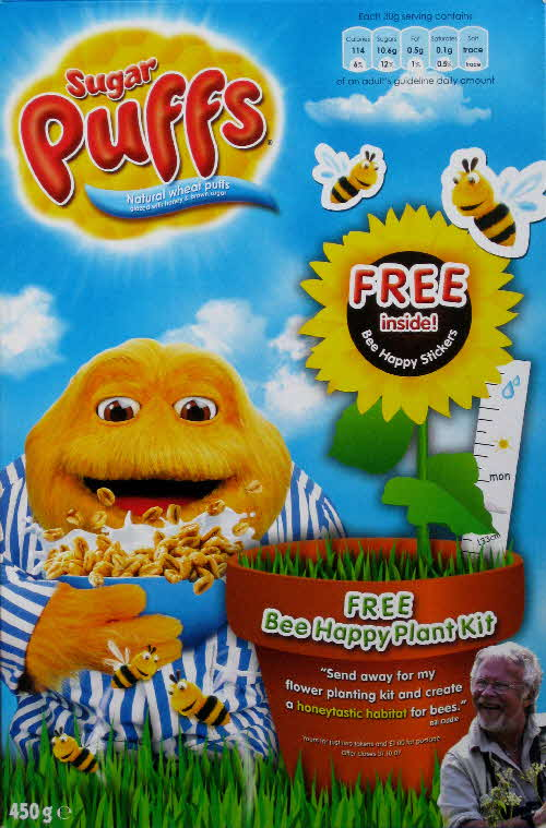 2007 Sugar Puffs Bee Happy Plant Kit - Bill Odie version Free Stickers front