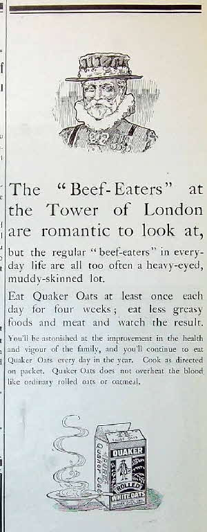 1910 Quaker Oats Ad Beedeater