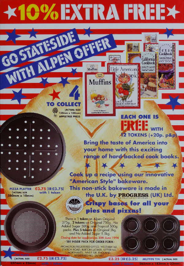 1993 Alpen Go Stateside Recipe Books & Bakeware offer