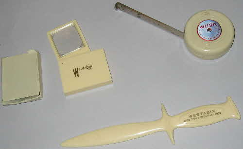 1950s Weetabix Promotional tape measure magnifying glass and paper knife