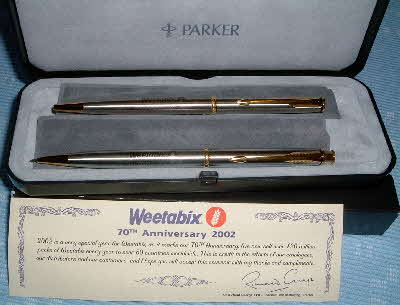 2002 Weetabix 70th Anniversary pen set