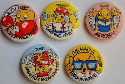 1985 Weetabix Weetagang badges issued Buster, Whizzer & Chips, Eagle  & Roy of Rovers