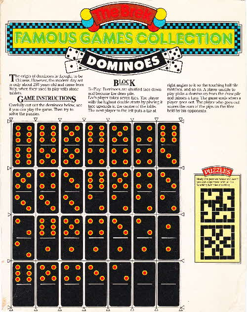 1980s Ready Brek Famous Games Collection Dominoes