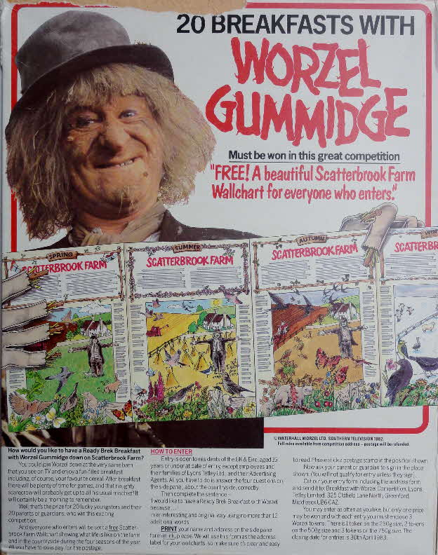 1983 Ready Brek Breakfast with Worzel Gummidge & Wallchart