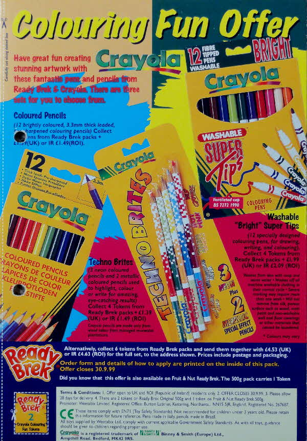 1998 Ready Brek Crayola Colouring  Fun Offer